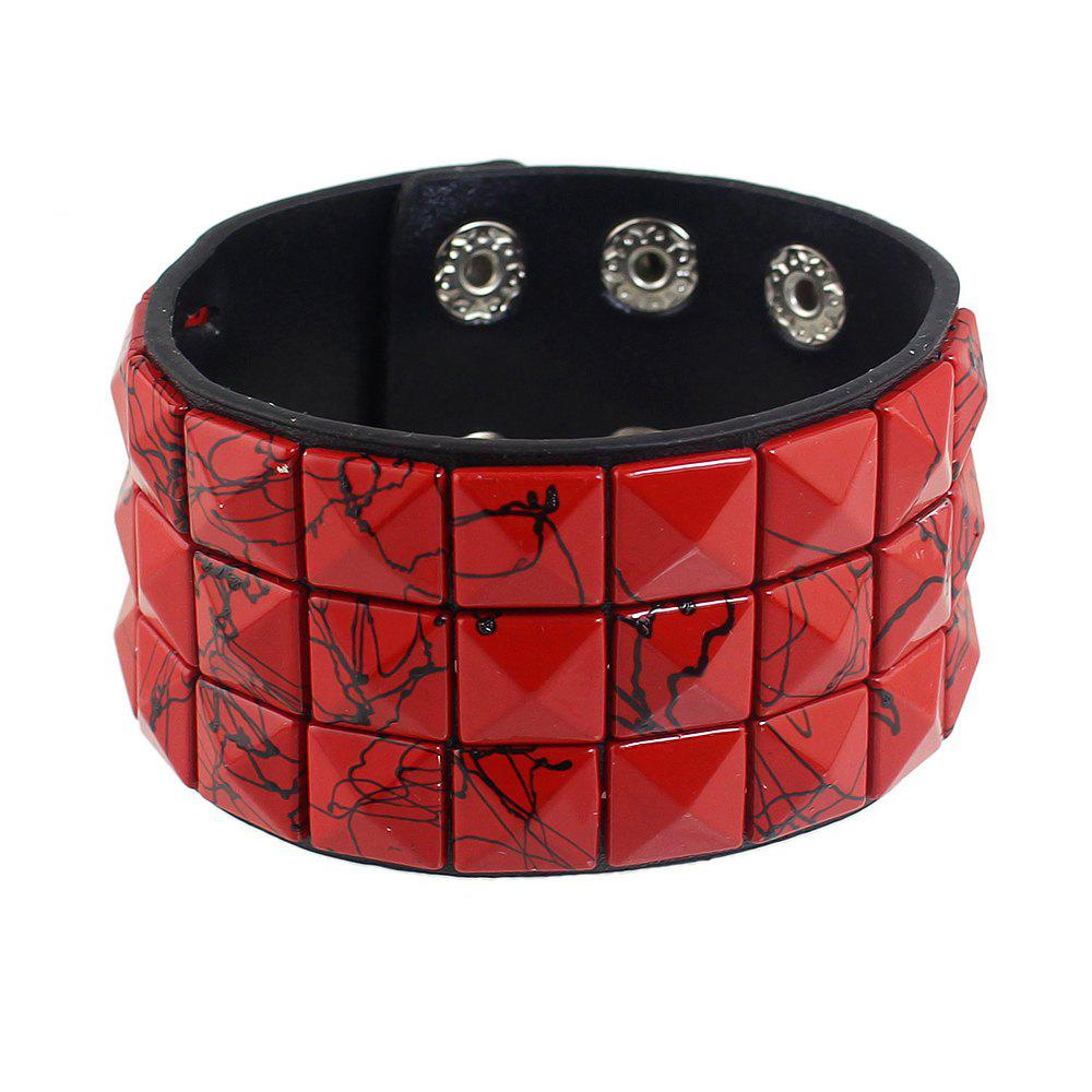 PU Leather with Colorful Rivet Width Bracelet - CHILLI PEPPER