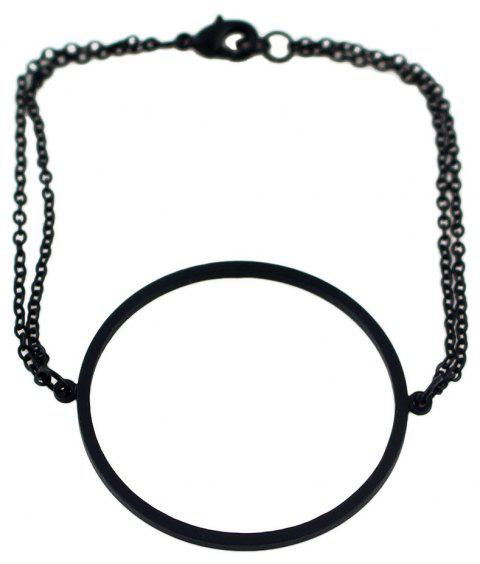 Minimalist Metal Circular Simple Bracelet - BLACK