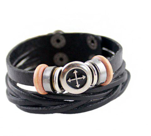 Fashion PU Weave Multilayer Bracelet - BLACK