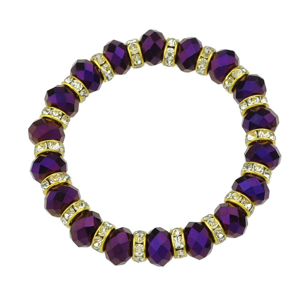 Bead Chain with Rhinestone Strand Bracelet for Women - PURPLE JAM