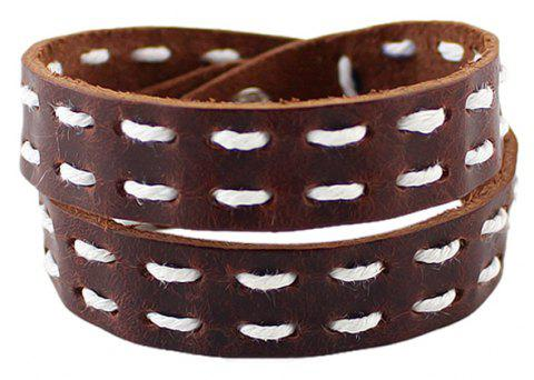PU Leather Chain Rope Decoration Long Wrap Bracelet - BROWN