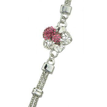Fashion Luxurious Metal Chain with Rhinestone Flower Bracelet - HOT PINK