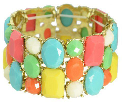 Colorful Geometric Gemstone Elastic Wide Bracelet - multicolor
