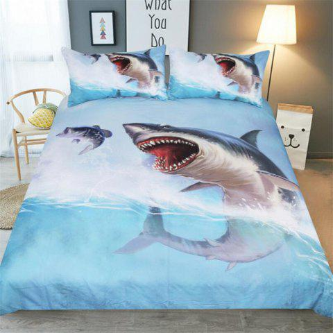 High-End Premium 3D Shark Bedding Three-Piece - multicolor TWIN