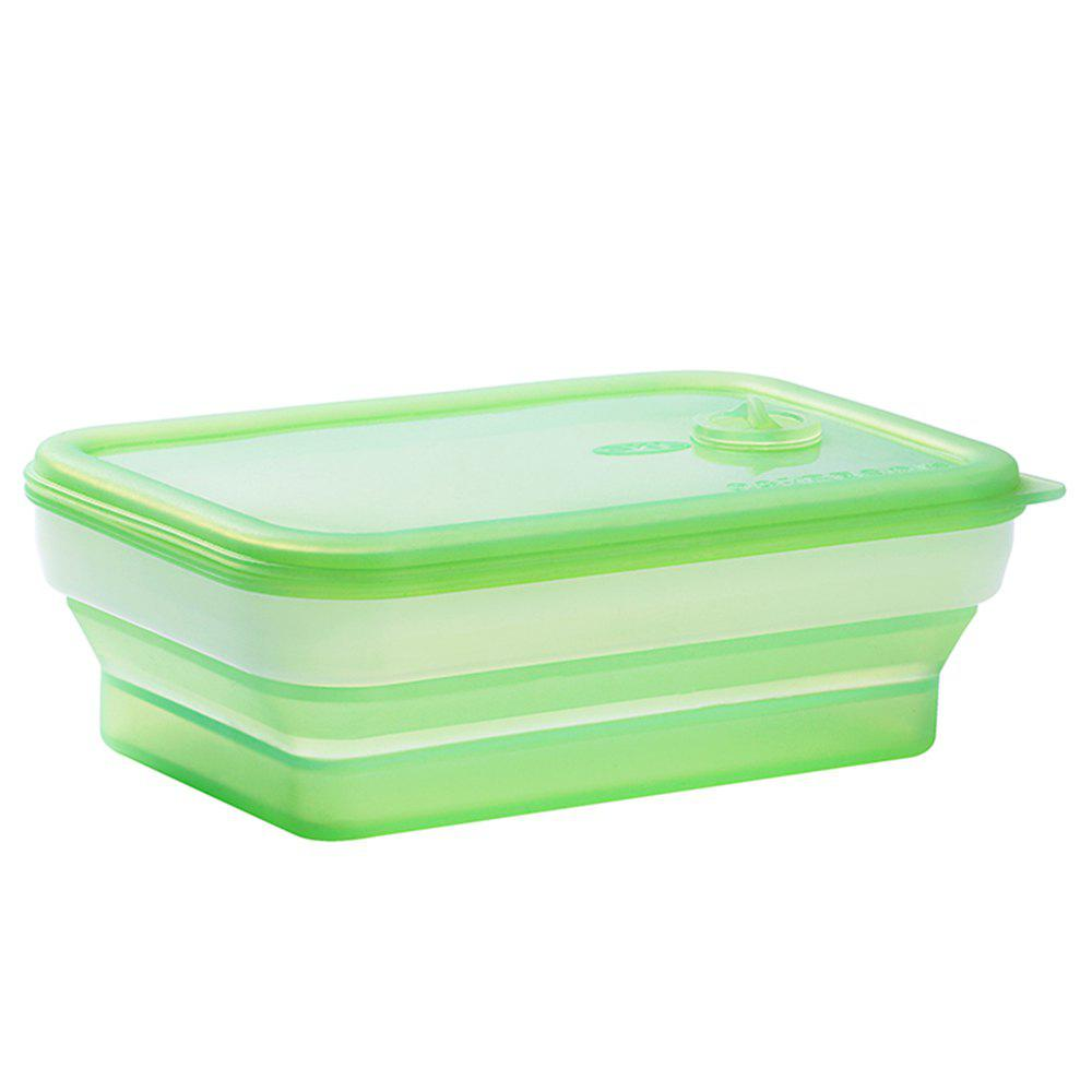 SKL Portable Outdoor Travel Tableware Microwave Silicone Folding Lunch Box - CHARTREUSE