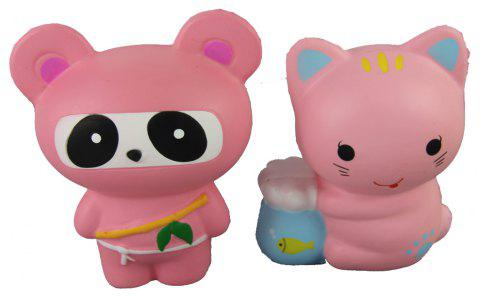 2PCS Jumbo Squishy Pink Ninja Panda and Fish Bowl Cat Relieve Stress Toys - multicolor A