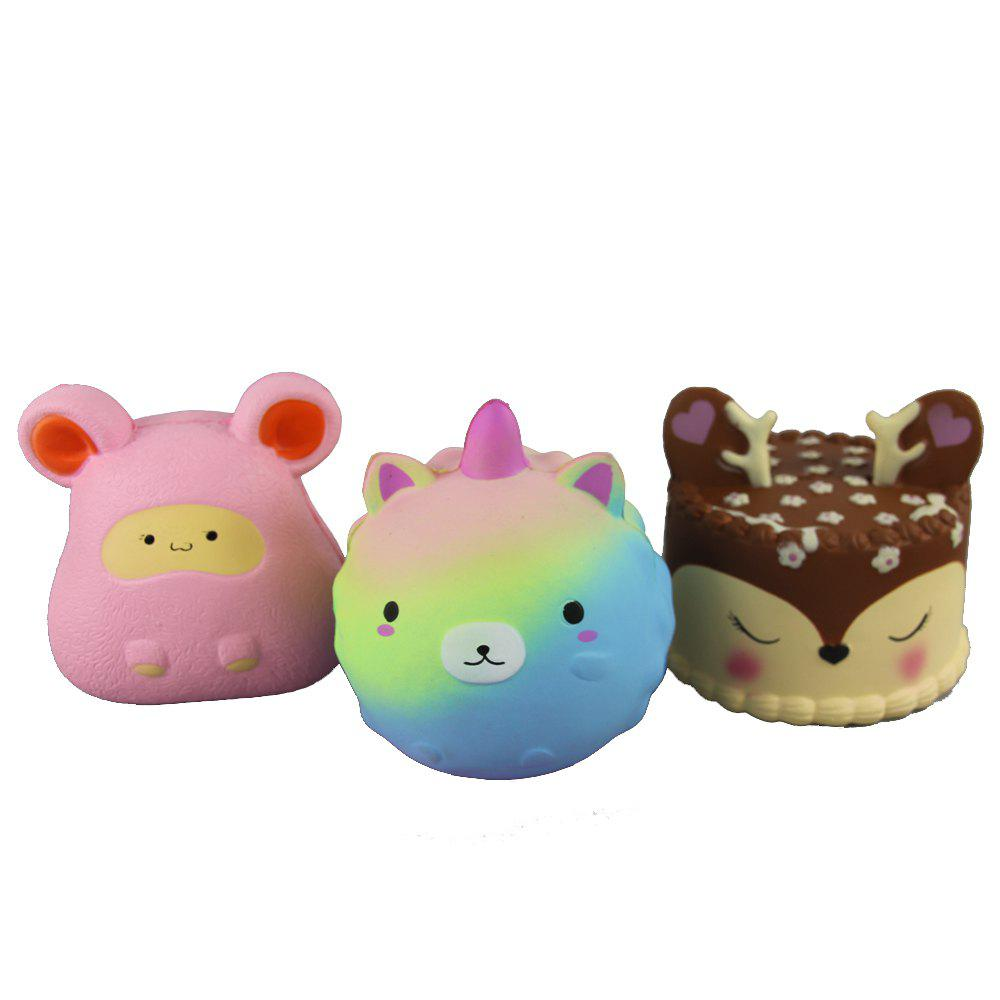 3PCS Jumbo Squishy Pinkish Bear Pink Mouse and Antler Cake Relieve Stress Toys - multicolor A