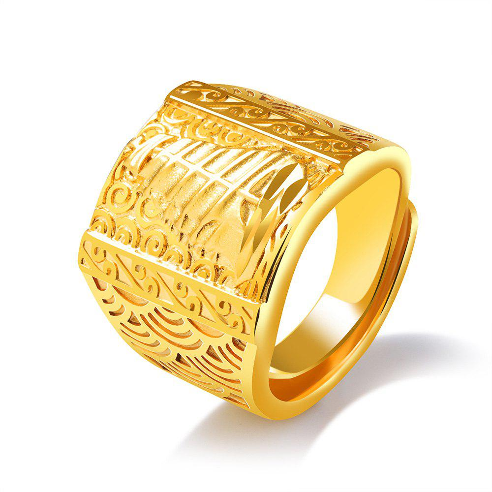 Plated 18K Gold Ring Smooth Sailing Brushed Male Ring Domineering - GOLD RESIZABLE