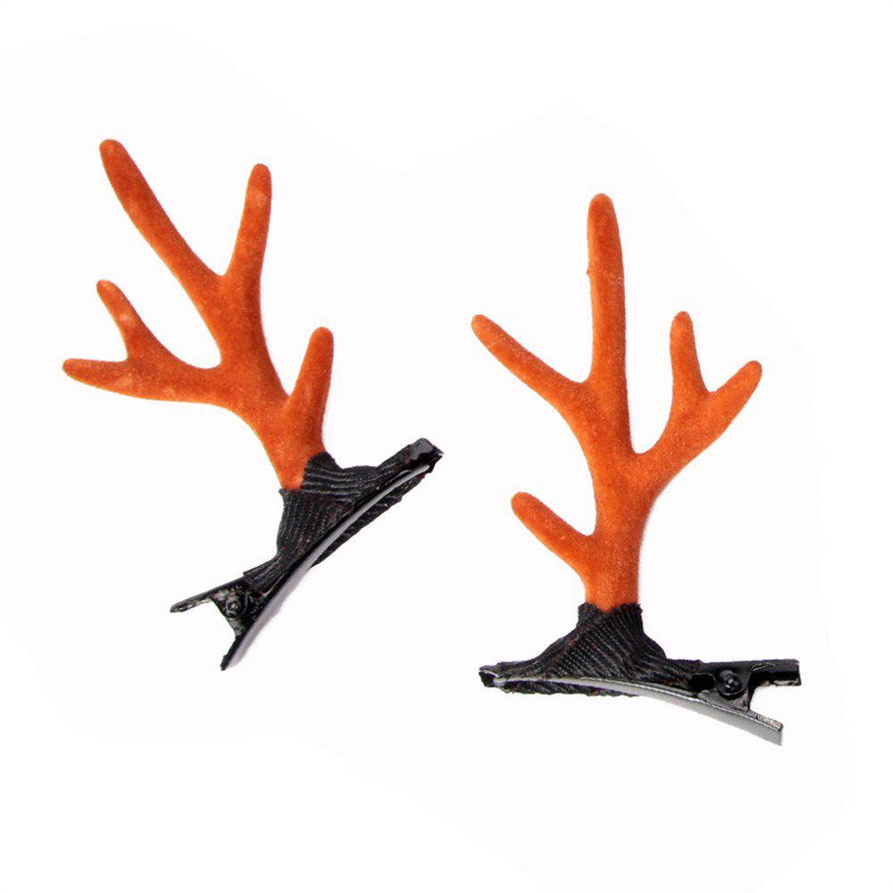 Children's Solid Color Cute Antler Jewelry Fashion Hairclip - LIGHT BROWN