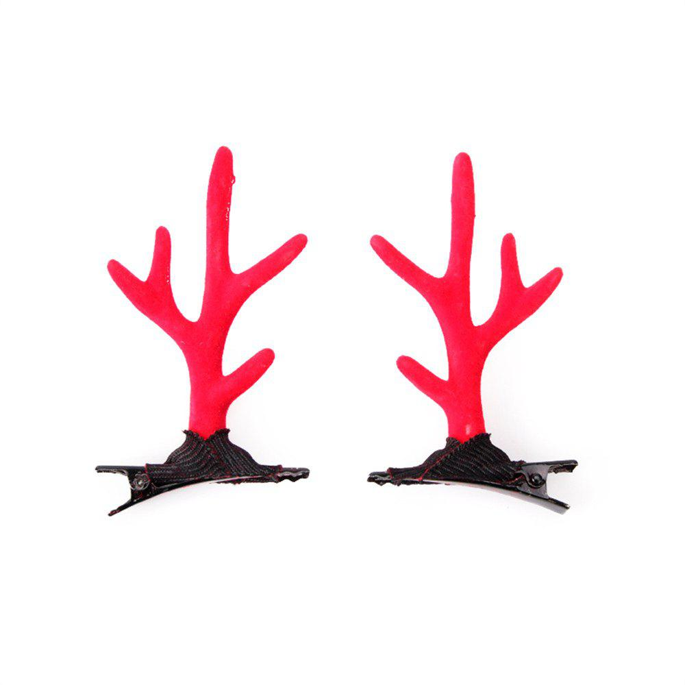 Children's Solid Color Cute Antler Jewelry Fashion Hairclip - RED