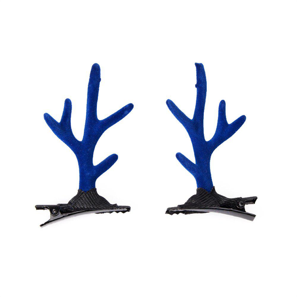 Children's Solid Color Cute Antler Jewelry Fashion Hairclip - BLUE