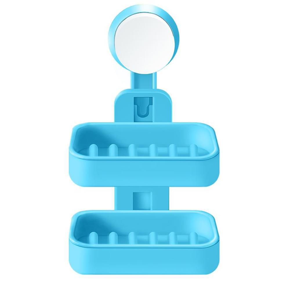 Creative Bathroom Suction Cup Double Drain Soap Dish Storage Rack - BUTTERFLY BLUE