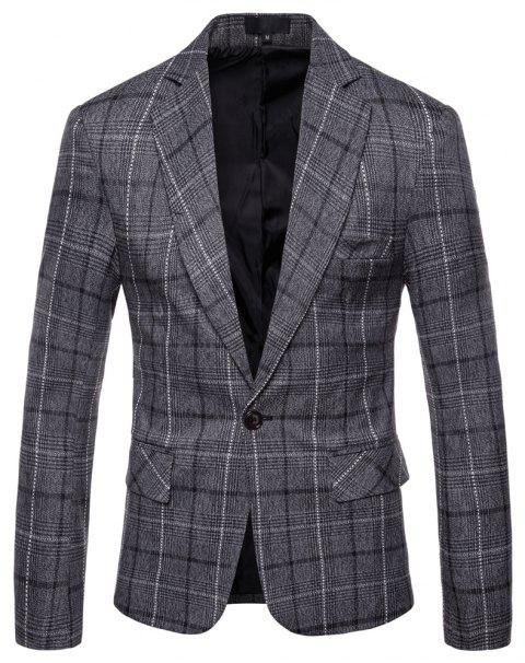 Men's Casual One Button Slim Fit Plaid Blazer - GRAY M