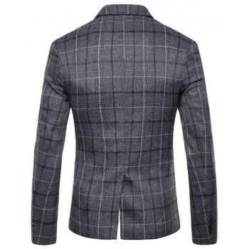 Men's Casual One Button Slim Fit Plaid Blazer - GRAY L