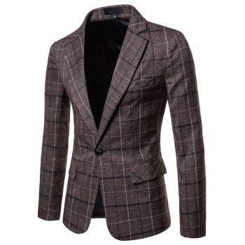 Men's Casual One Button Slim Fit Plaid Blazer - COFFEE 3XL