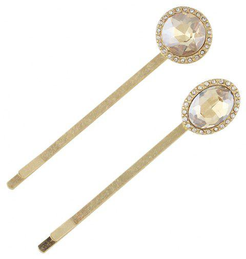 2pcs Luxury Crystal Water Drop Round Hairgrip Hairpin - CHAMPAGNE
