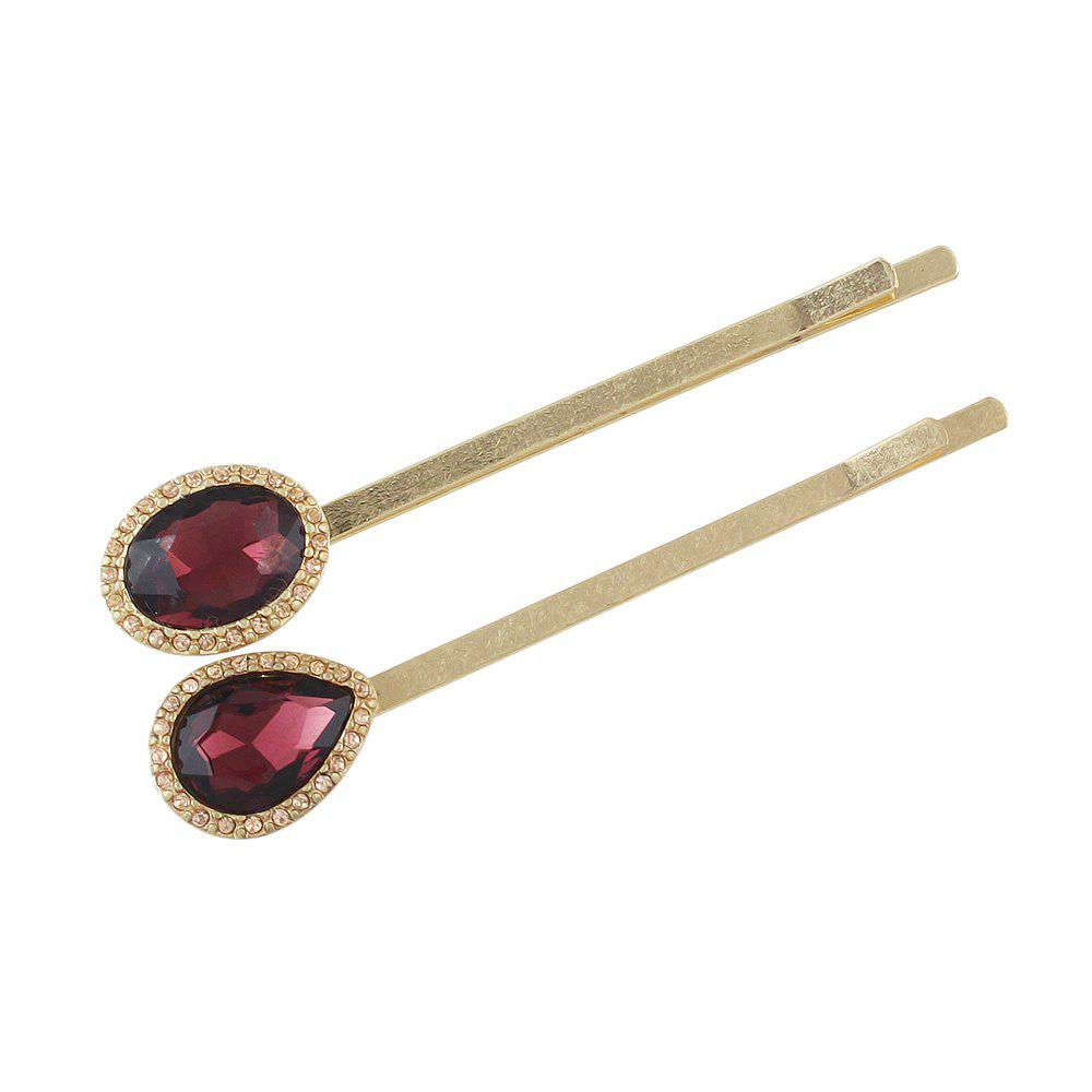 2pcs Luxury Crystal Water Drop Round Hairgrip Hairpin - CRANBERRY