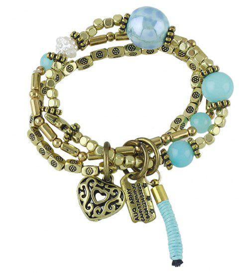 Multi-storey Braided Rope Net  Bracelet for Women - BLUE LAGOON