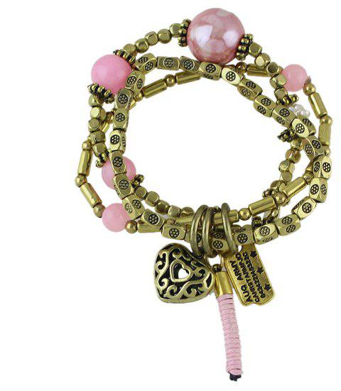 Multi-storey Braided Rope Net  Bracelet for Women - PINK