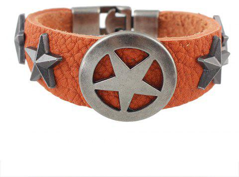 Wide PU Leather Star Shape Wrap Bangle for Women and Men - HALLOWEEN ORANGE
