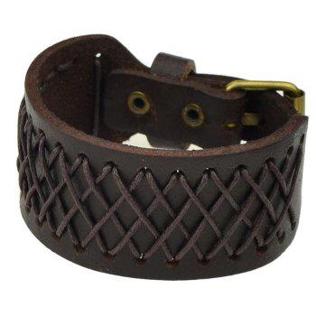 PU Leather with Knitted Rope Bracelet for Women and Men - DEEP COFFEE