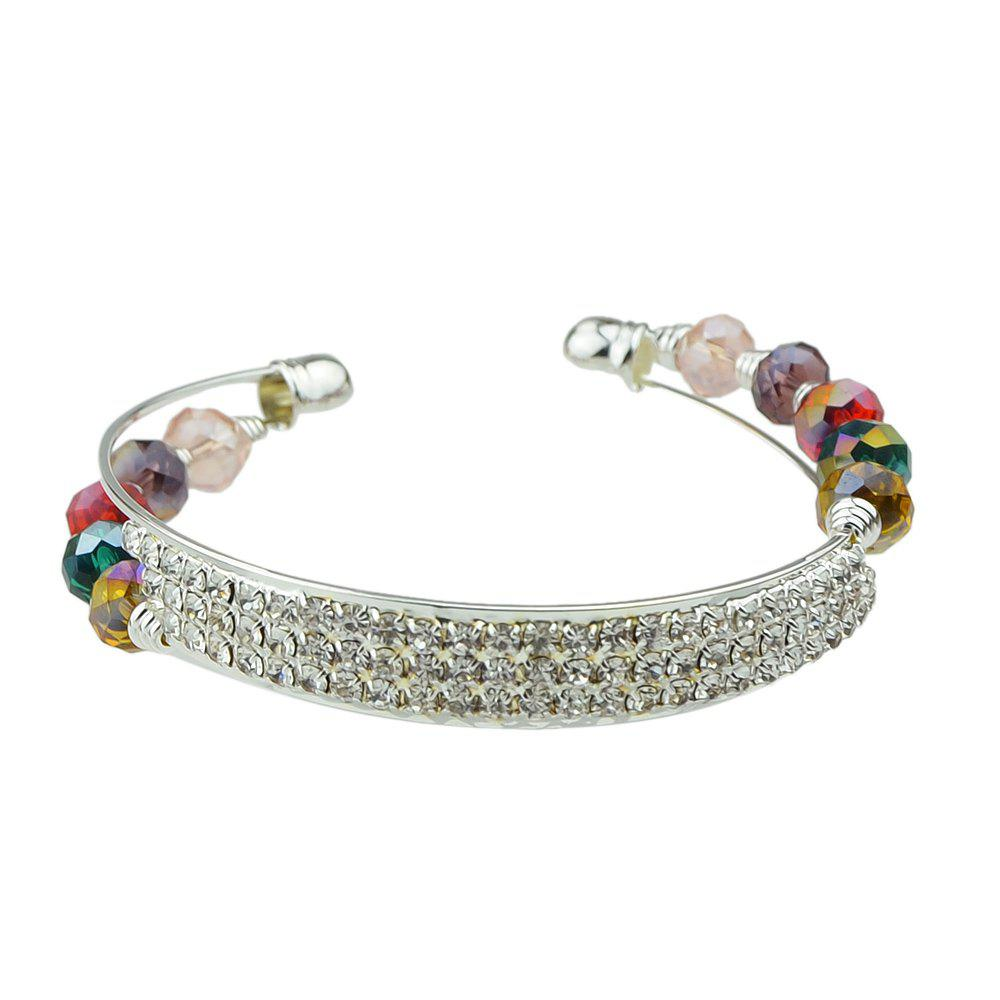 Beautiful Crystal Cuff Open Bangle for Women - SILVER