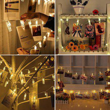 20 LED Photos Clips Fairy String Lights with Remote for Party Wedding Bedroom - WARM WHITE