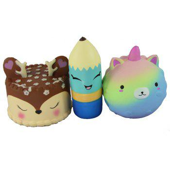 3PCS Jumbo Squishy Little Bear Pencil and Antler Cake Toys - multicolor A