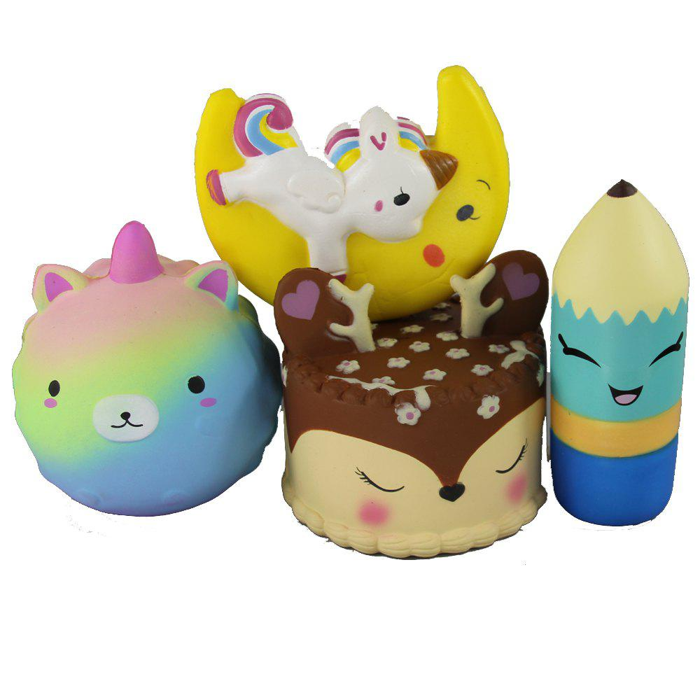 4PCS Jumbo Squishy Sharp Bear Pencil Antler Cake and Flying Horse Toys - multicolor A