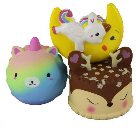 3PCS Jumbo Squishy Cub Moon Flying Horse and Antler Cake Toys - multicolor A
