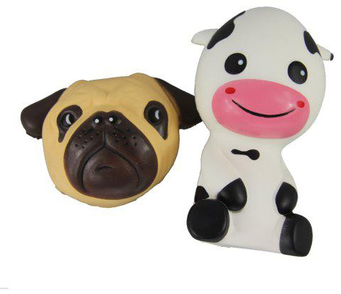 2PCS Jumbo Squishy Dog and Taurus Relieve Stress Toys - multicolor A