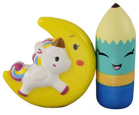 2PCS Jumbo Squishy Pencil and Moon Pony Relieve Stress Toys - multicolor A