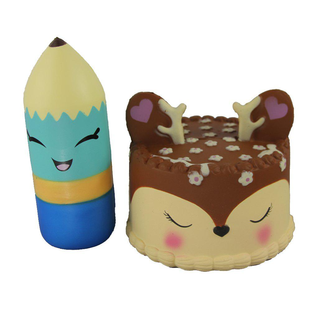 2PCS Jumbo Squishy Pencil and Antler Cake Relieve Stress Toys - multicolor A