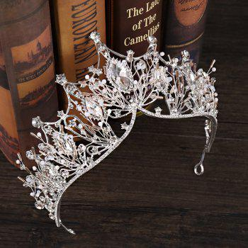 The Bride Large Crystal Princess Crown Hairband - COOL WHITE 34 X 8CM