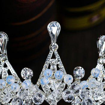 Bride Accessory Crystal Crown Silver - COOL WHITE 5.5 X 28.5CM