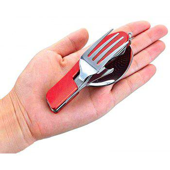 3-In-1 Camping Utensil Stainless Steel Fork Knife Spoon Bottle Opener Set with - RED