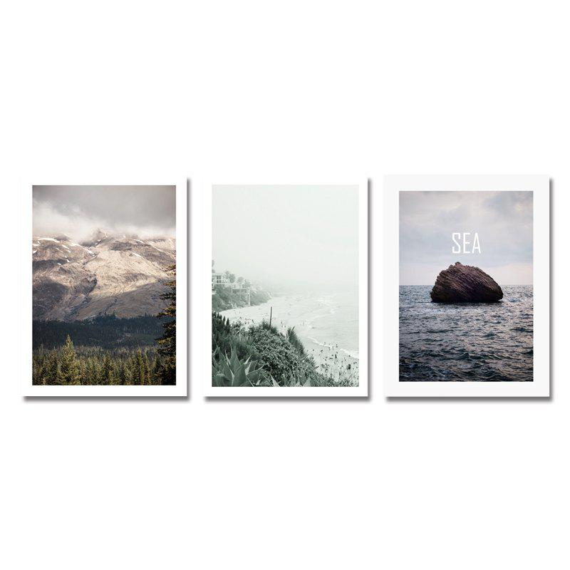 3PCS Mountain Sea Landscape Print Art - multicolor