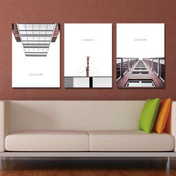 3PCS Urban Architectural Landscape Print Art - multicolor