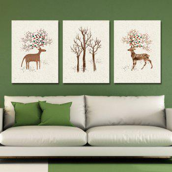 3PCS Lovely Cartoon Wild Deer Print Art - multicolor