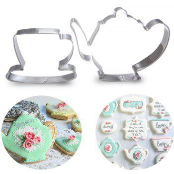 2pcs Teapot Tea Cup Set Cookie Cutter Stainless Steel Mould Fondant Cake Mold - SILVER