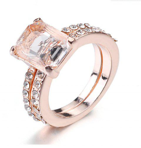 Exquisite 18K Rose Gold Floral Rings New Year Anniversary Proposal Gift Clear - ROSE GOLD US SIZE 7