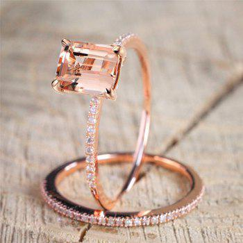Exquisite 18K Rose Gold Floral Rings New Year Anniversary Proposal Gift Clear - ROSE GOLD US SIZE 6