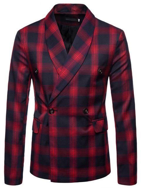 Mens Slim Fit Suits Plaid Pockets Buckle Casual Blazer - RED L