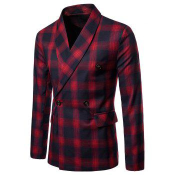 Mens Slim Fit Suits Plaid Pockets Buckle Casual Blazer - RED 2XL
