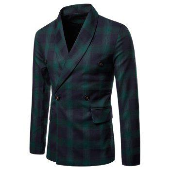 Mens Slim Fit Suits Plaid Pockets Buckle Casual Blazer - DARK FOREST GREEN L