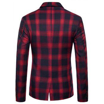 Mens Slim Fit Suits Plaid Pockets Buckle Casual Blazer - RED M