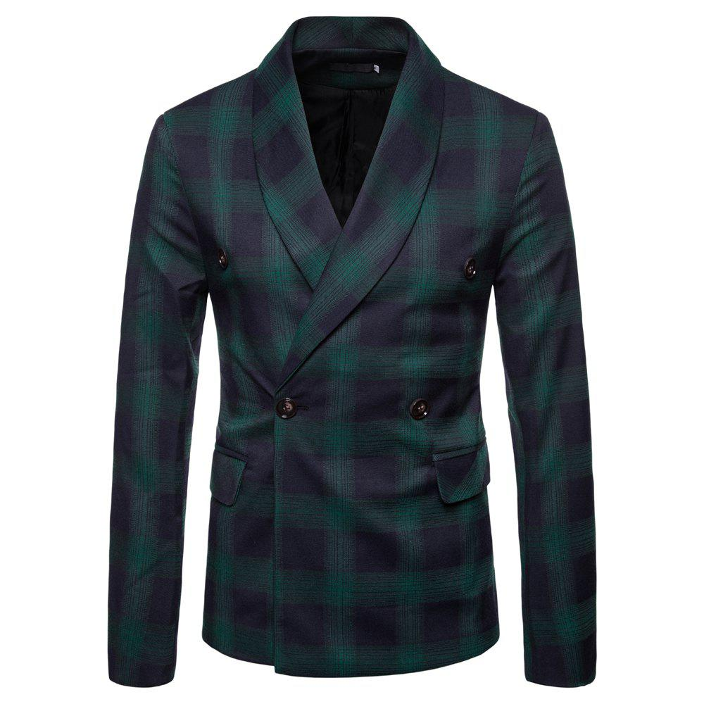 Mens Slim Fit Suits Plaid Pockets Buckle Casual Blazer - DARK FOREST GREEN M