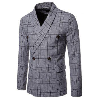 Men's Slim Fit Plaid Suits Pockets Buckle Casual Blazer - LIGHT GRAY M
