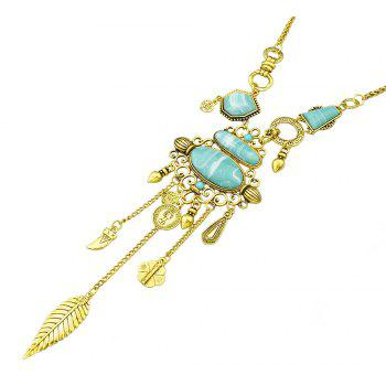 Vintage Turquoise Long Necklace for Women - GOLD