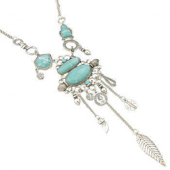 Vintage Turquoise Long Necklace for Women - SILVER